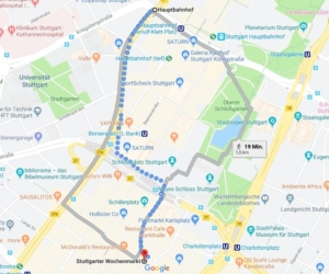 Route Hauptbahnhof nach Stuttgarter Wochenmarkt